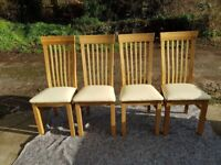 Solid oak and real leather chairs x4