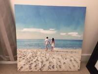 Beach Couple Wall Canvas
