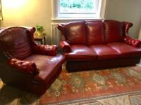 Red leather Chesterfield suite, sofa and chair
