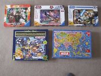 Jigsaw Puzzles,Map of ASIA, Solar system, Dr.Who, 2 x Star Wars, All complete,