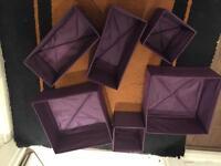 6 purple Ikea storage cubes