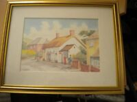 A WATER COLOUR PAINTING OF THE OLD POST OFFICE AT BROADMAYNE BY JIM BARNES