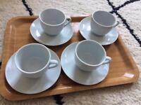 2 x 4 piece set of tea cups and saucer plate