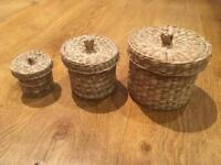 3 natural seagrass basket organizers