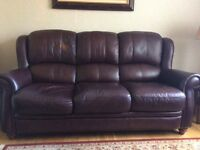 Brown leather sofa, armchair and footstool
