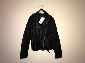 Miss Selfridge Black Leather Jacket with tag still on (never been worn)