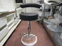 2 black faux leather casino bar stools