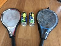 Tennis racquets (2) and 6 new sealed balls