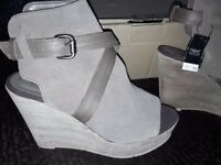 Wedge shoe for sale - size 6 - real suede - dark beige/taupe - new with labels - £