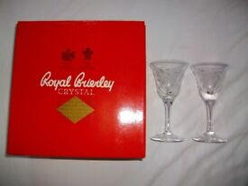 Two Royal Brierley Lead Crystal Fuchsia Pattern Sherry Glasses Boxed