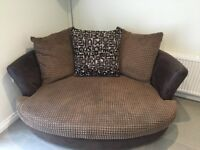 Brown 3 seater, cuddler and foot stool for sale