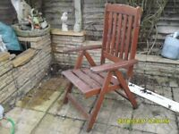6 heavy hard wood folding garden chairs