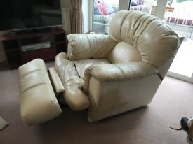 Cream leather reclining arm chair