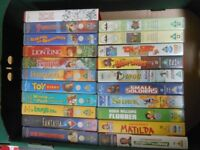 Various Walt Disney and olther children's Video tapes 21 in all