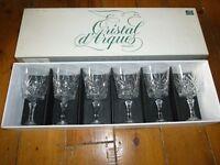 Set of 6 cut glass wine glasses