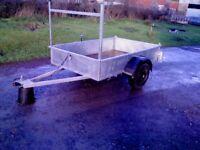 CAR TRAILER NEW 7 x 4ft, galvanised, lights/ladder rack, excellent trailer