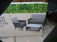 RATTEN 4 PIECE GARDEN SET, BRAND NEW/BOXED,£100, CAN DELIVER