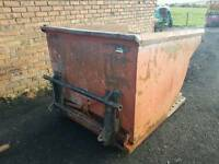 Large heavy duty forklift tipping skip with Chilton tractor loader brackets fitted