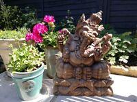 Stunning Carved Wood Ganesh Sculpture (Yoga Meditation Mindfulness)