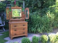 Antique solid pine dresser with tryptic of bevelled glass mirrors