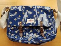 Cath Kidston patent blue and cream spots satchel bag