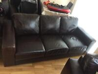 Brown leather three piece Maddison suite