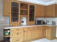 traditional real wood kitchen cabinet and display set £499 includes built in fridge!