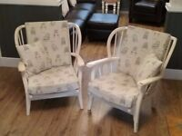 2x wooden wheel backed shabby chic armchairs