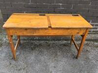 Vintage Double School Desk With Lift up Lids. W-113cm, D-46cm, H-66cm