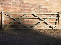 "Wooden Field GATE with Posts: Gate 4' X 12 '; Posts 8' high and 7"" X 7"""