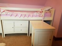 VGC MARKS SPENCER IVORY WHITE SLEEP STATION CABIN BED WITH PULL OUT DESK & CUPBOARD + MATTRESS