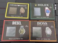 WATCH AND WALLET SETS #GUCCI #ROLEX #ARMANI #DIESAL #BOSS £30