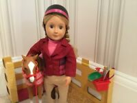 Our Generation Doll with Horse and Fence Plus Miscellaneous Clothes