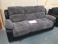 EX-Display - 3 seater Cambridge recliner sofa Black/Grey