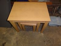 Nest of 3 wooden tables. Please see pictures