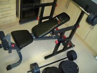 BODY MAX CF415 SQUAT & DIP RACK, CF430 HEAVY DUTY FLAT/INCLINE/DECLINE BENCH & 97kg WEIGHTS & BARS