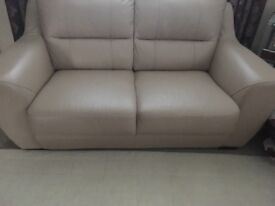 2 seater & 3 seater leather couchesin and oak finish book case all ingood condition colour pebble.