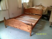 PINE DOUBLE BED FRAME ( sorry no mattress)
