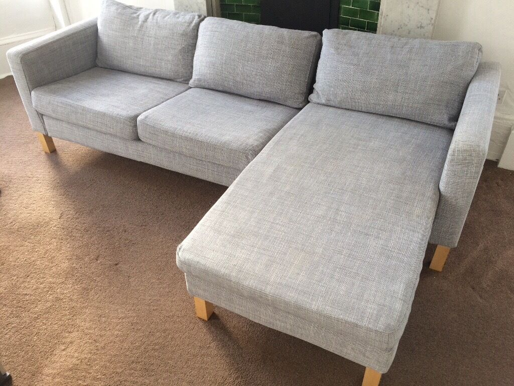 Ikea Karlstad Isunda Grey Sofa Chaise And Footstool In