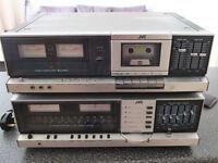 Vintage JVC JR-S201 Receiver / Amplifier and KD-S201 Cassette deck