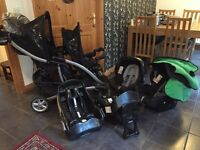 GRACO twin or tandem pram with car seats