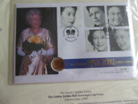 First Day Cover of The Queen's Golden Jubilee with Half Sovereign.