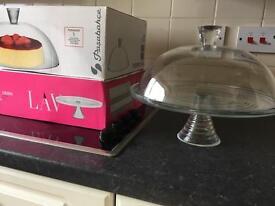 Glass Cake Stand & Glass lid