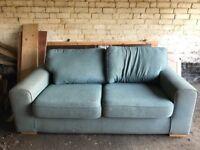 Blue 2 seater fabric sofa