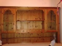 Pine wall display unit/dresser top