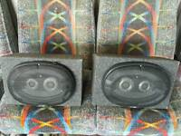 Car stereo speakers 6x9 fitted in wooden box