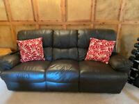 3 seater and 2 seater reclining dark brown leather sofa