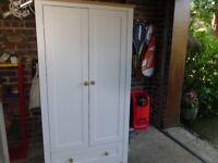 Single Wardrobe White /Oak trim
