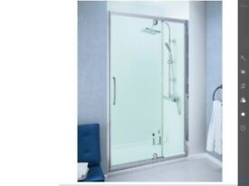 Shower enclosure New Lakes 1000 semi frameless pivot door with in line panel enclosure