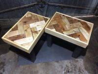 Reclaimed Wood Herringbone Tables